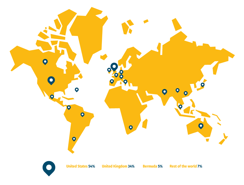 Illustration of the world in yellow with locations of readership marked