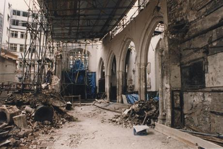The ruins of St Ethelburga's in the aftermath of the bombing